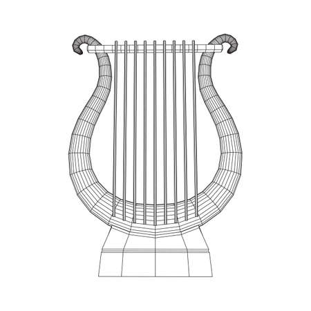 Ancient lyre or harp musical instrument. Music concept.