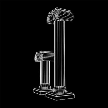 Greek ionic column. Ancient pillars roman antique architecture construction decoration.
