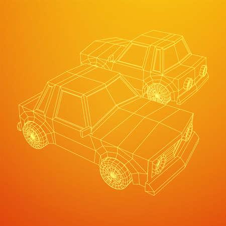 Car sedan vehicle personal transport. Automobile transportation concept. Wireframe low poly mesh vector illustration.