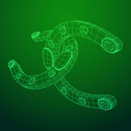 Horseshoe symbolizes good luck. Wireframe low poly mesh vector illustration. 일러스트