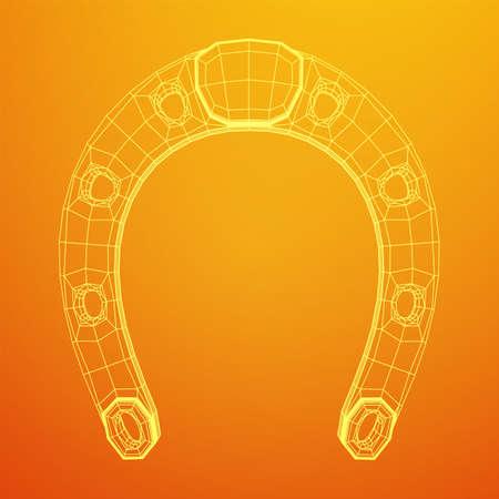 Horseshoe symbolizes good luck. Wireframe low poly mesh vector illustration. Vettoriali