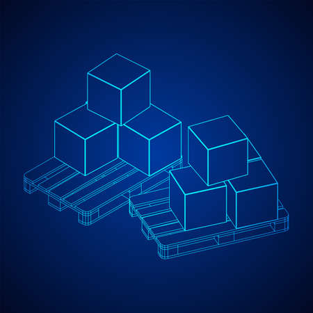 Cargo pallet for warehouse with stacked goods cardboard boxes. Logistics shipping concept. Wireframe low poly mesh vector illustration. Vectores