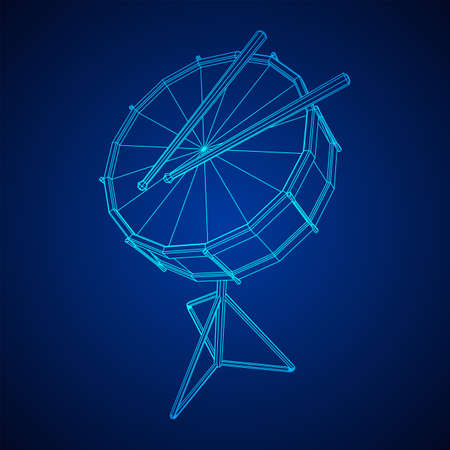 Musical instruments set. Rock band kit. Percussion musical instrument drum and stick. Wireframe low poly mesh vector illustration.