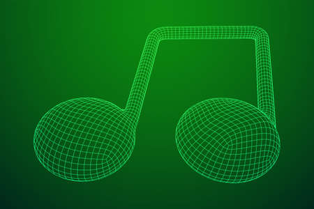 Music note. Mensural musical notation. Note value music staff. Wireframe low poly mesh vector illustration.