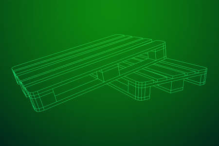 Cargo pallet for warehouse. Logistics shipping concept. Wireframe low poly mesh vector illustration.