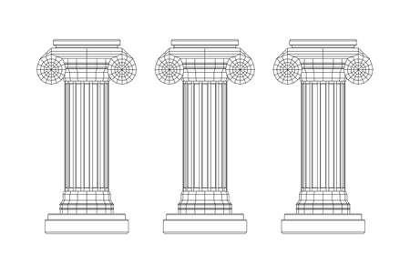 Greek ionic column. Ancient pillars roman antique architecture construction decoration. Wireframe low poly mesh vector illustration. Ilustracje wektorowe