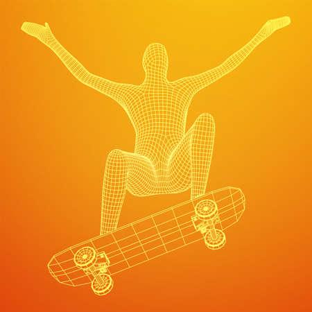 Skater doing jumping trick on skateboard. Wireframe low poly mesh vector illustration. Vettoriali