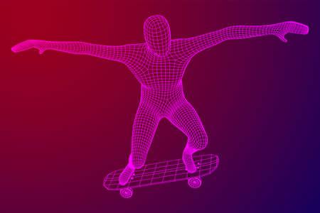 Skater doing jumping trick on skateboard. Wireframe low poly mesh vector illustration. Illustration