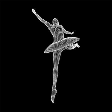 Dancing ballerina. Woman classic ballet dancer. Wireframe low poly mesh vector illustration. Çizim
