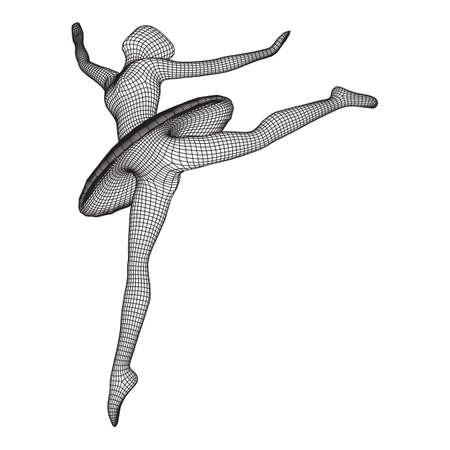 Dancing ballerina. Woman classic ballet dancer. Wireframe low poly mesh vector illustration. 矢量图像