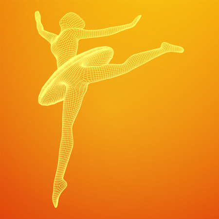 Dancing ballerina. Woman classic ballet dancer. Wireframe low poly mesh illustration.