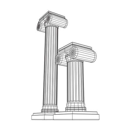 Greek ionic column. Ancient pillars roman antique architecture construction decoration. Wireframe low poly mesh illustration.