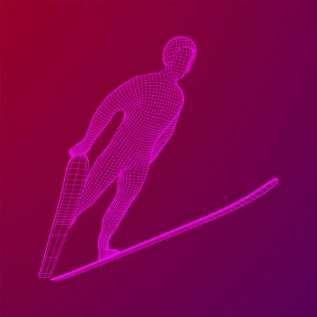 Ski jumper sportsman. Wireframe low poly mesh vector illustration. Çizim