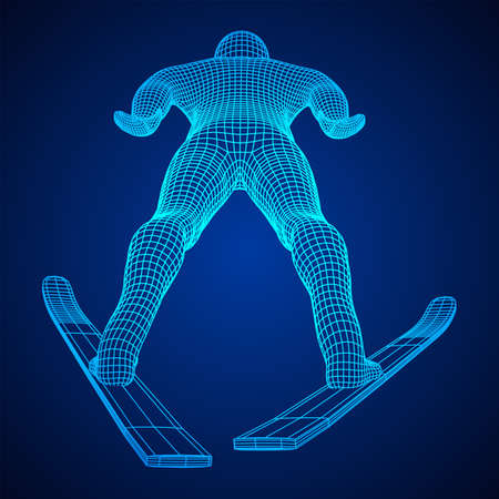 Ski jumper sportsman. Wireframe low poly mesh illustration. Ilustrace