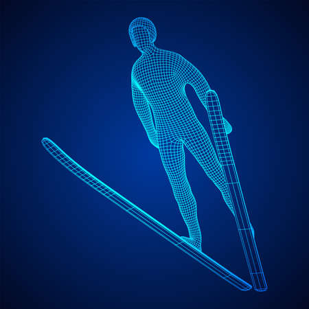 Ski jumper sportsman. Wireframe low poly mesh vector illustration. Ilustrace