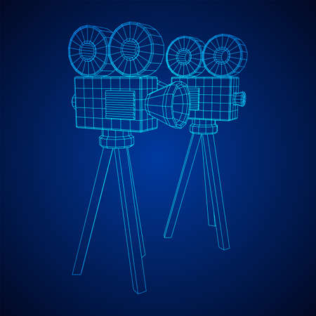 Polygonal camera projector. Movie time. Show film cinema festival concept. Wireframe low poly mesh vector illustration.