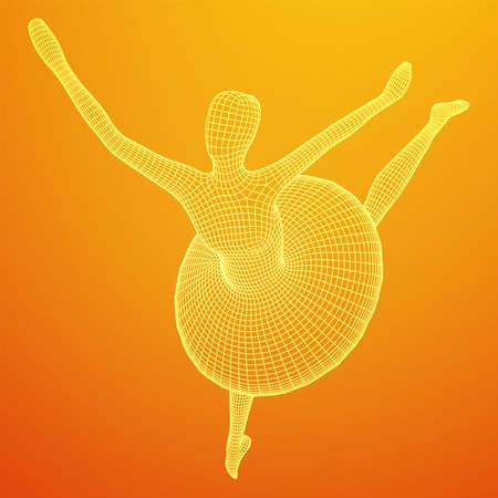Dancing ballerina. Woman classic ballet dancer. Wireframe low poly mesh vector illustration.