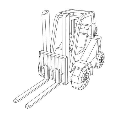 Forklift Loader lift truck. Wireframe low poly mesh vector illustration. Vetores