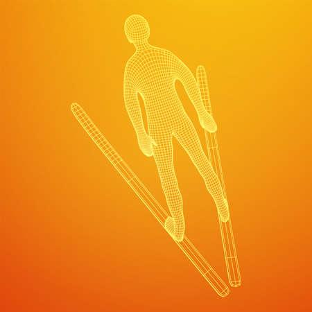 Ski jumper sportsman. Wireframe low poly mesh vector illustration.  イラスト・ベクター素材