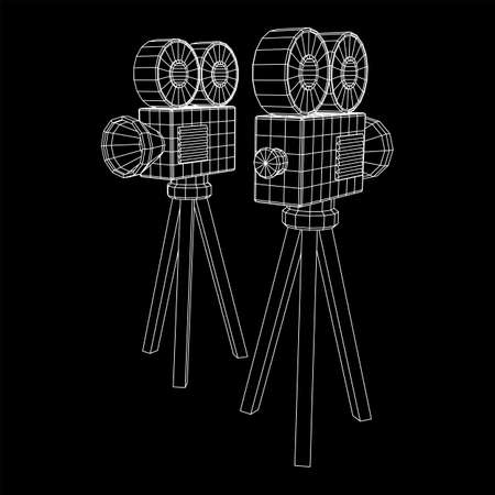 Polygonal camera projector. Movie time. Show film cinema festival concept. Wireframe low poly mesh vector illustration. 向量圖像