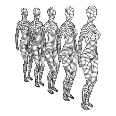 Female or woman queue. Body biology medicine education concept. Wireframe low poly mesh vector illustration. Vektoros illusztráció