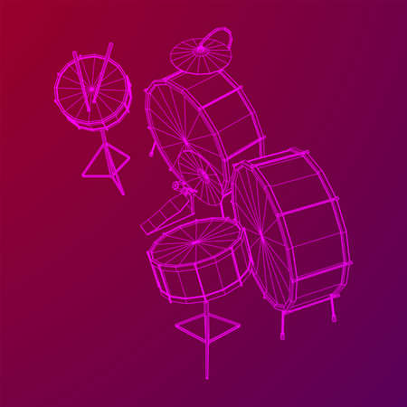 Musical instruments set. Rock band drum kit. Percussion musical instrument drums, stick and cymbal. Wireframe low poly mesh vector illustration.