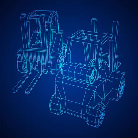 Forklift Loader lift truck. Wireframe low poly mesh vector illustration.