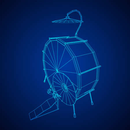 Musical instruments set. Rock band drum kit. Percussion musical instrument drums and cymbal. Wireframe low poly mesh vector illustration.