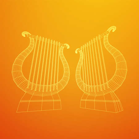 Ancient lyre or harp musical instrument. Music concept. Wireframe low poly mesh vector illustration.