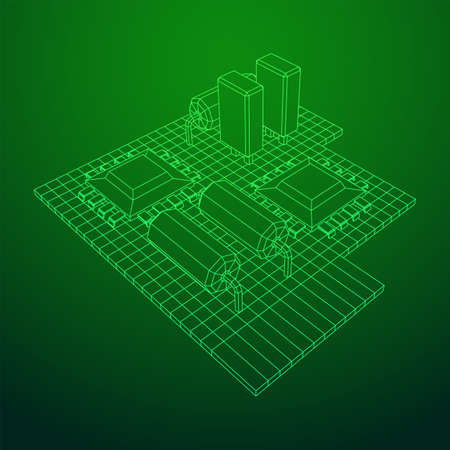 Circuit board. Electronic computer components motherboard. Semiconductor microchip, diode. Hardware parts. Wireframe low poly mesh vector illustration.