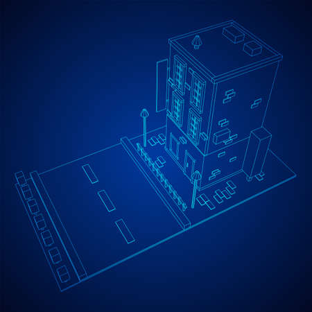 City building real estate concept. Wireframe low poly mesh vector illustration Stock Illustratie