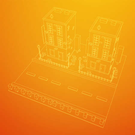 City building real estate concept. Wireframe low poly mesh vector illustration