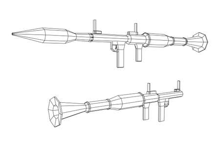 Anti-tank rocket propelled grenade launcher - RPG 7. Wireframe low poly mesh vector illustration. Vektoros illusztráció
