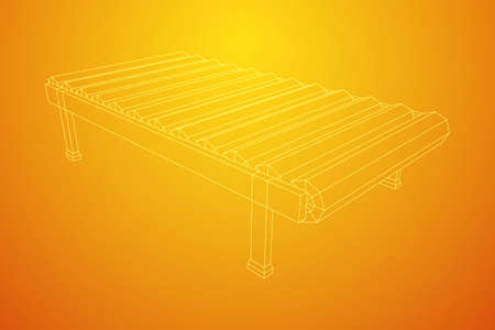 Conveyor belt section. Factory production equipment. Wireframe low poly mesh vector illustration  イラスト・ベクター素材