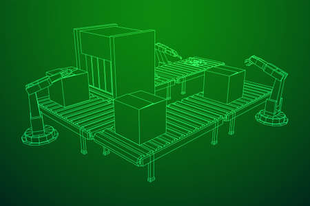 Robotic arm manufacture technology industry assembly mechanic hand. Regular roller conveyor with circuit boards and packed boxes. Wireframe low poly mesh vector illustration