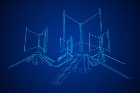 Darrieus wind turbine. Windmill generator wireframe low poly mesh. Vector illustration