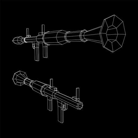 Anti-tank rocket propelled grenade launcher - RPG 7. Wireframe low poly mesh vector illustration.