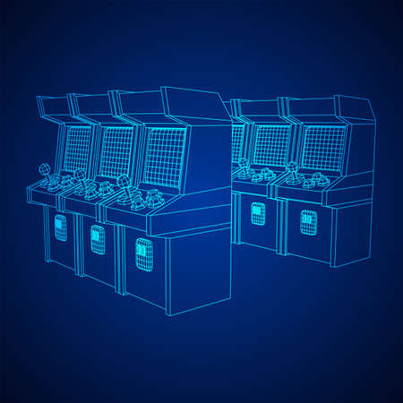 Arcade retro game machine. Wireframe low poly mesh vector illustration. Ilustrace