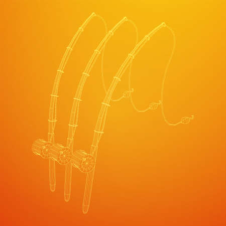 Fishing rod with line sinker and hook. Wireframe low poly mesh vector illustration.
