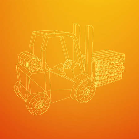 Forklift Loader lift truck with cargo pallet for warehouse. Logistics shipping concept. Wireframe low poly mesh vector illustration.