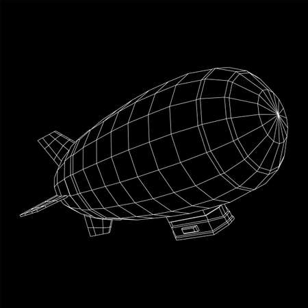 Airship dirigible airway travel transport. Air ship with gondola cabin. Wireframe low poly mesh vector illustration. Vector Illustration