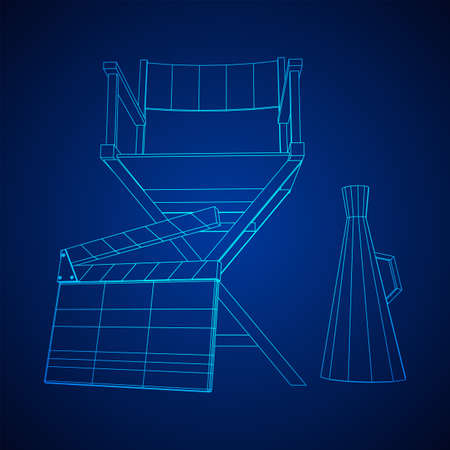 Director movie workplace chair. Wireframe low poly mesh vector illustration