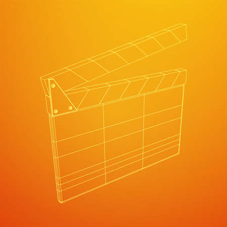 Movie clapper board. Film cinema concept. Wireframe low poly mesh vector illustration