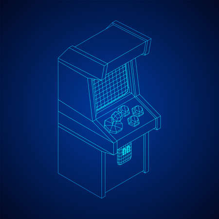 Arcade retro game machine. Wireframe low poly mesh vector illustration.