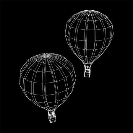 Airballoon design airway travel transport. Air ship with cabin. Wireframe low poly mesh vector illustration. Ilustrace