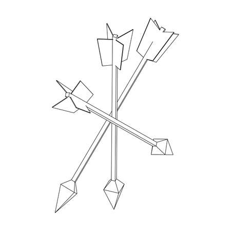 Medieval bow arrow. Wireframe low poly mesh vector illustration.