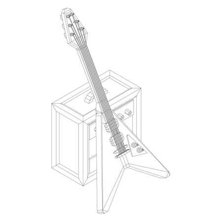 Electric guitar musical instrument. Wireframe low poly mesh vector illustration.