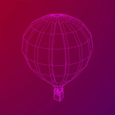 Airballoon design airway travel transport. Air ship with cabin. Wireframe low poly mesh vector illustration. Illustration