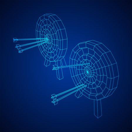 Archery target. Arrows hit round target goal concept. Wireframe low poly mesh vector illustration Ilustración de vector