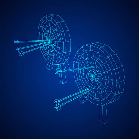 Archery target. Arrows hit round target goal concept. Wireframe low poly mesh vector illustration Vetores